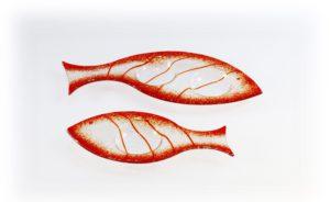 Skleněný svícínek rybička – FISH – červená