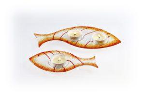 Skleněný svícínek rybička – FISH – oranžová