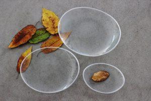 Skleněný oválný talíř OVAL ELLA čirý se stříbrným okrajem