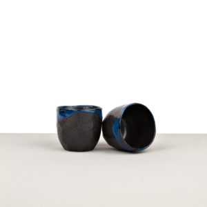 Cup with Patchy Edge, TEACUP, black and blue