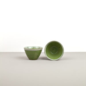 Small Bowl, green with white edge, 9 – 6 cm