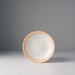 Small Plate, 15 x 3 cm, white with beige edge