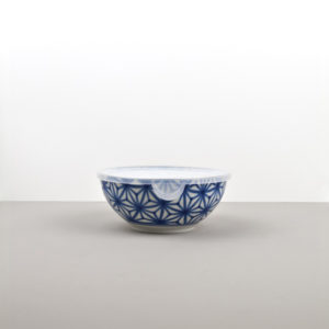 Bowl Starburst Indigo Ikat with plastic lid 16 cm