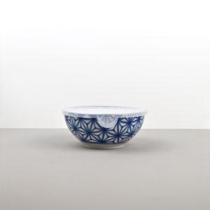 Bowl Starburst Indigo Ikat with plastic lid 16 cm