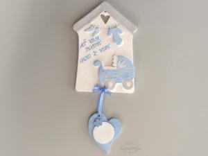 Domeček s kočárkem modrý