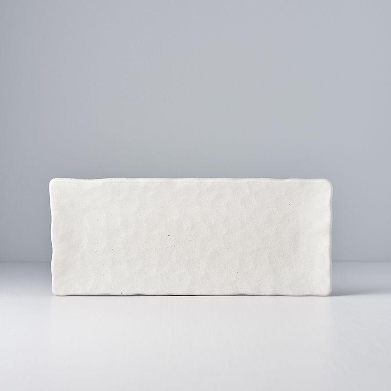 Shell White Slab Rectangular Platter medium Textured 29 x 12 cm