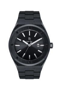 Černé pánské hodinky Paul Rich s ocelovým páskem Conquest