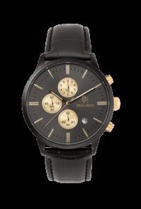 Černé pánské hodinky Paul Rich s páskem z pravé kůže Zenit – Black Leather