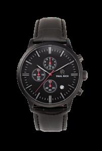 Černé pánské hodinky Paul Rich s páskem z pravé kůže Prime – Black Leather