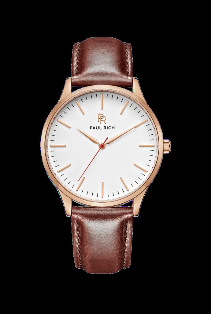Zlaté pánské hodinky Paul Rich s páskem z pravé kůže Bellport – Leather