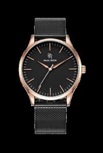 Černé pánské hodinky Paul Rich s páskem z nerezové oceli Oakdale – Mesh