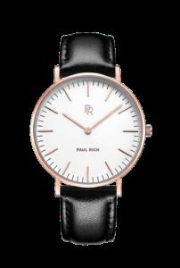 Zlaté dámské hodinky Paul Rich s páskem z pravé kůže Monaco Gold – Black Leather