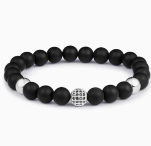 Náramky na ruku Paul Rich Silver Zircon Black Onyx Bracelet