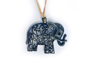 Náhrdelník slon na béžové kůžičce