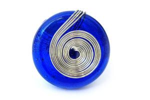 Prsten spirála modrý