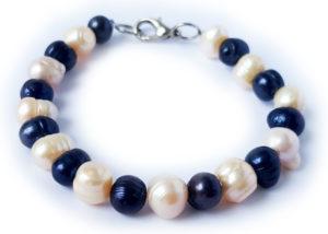 Perlový náramek modro bílý