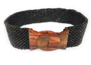 Kokosový pásek s ebenovou přezkou černý