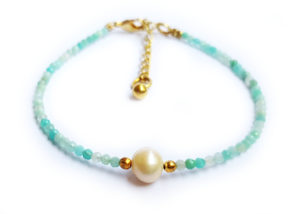 Náramek amazonit s perličkou