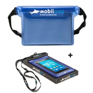 Výhodný balíček vodotěsná ledvinka + pouzdro na telefon transparentní modré