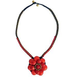 Červený náhrdelník květina