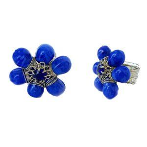 Prsten modrá květina s kamínkem
