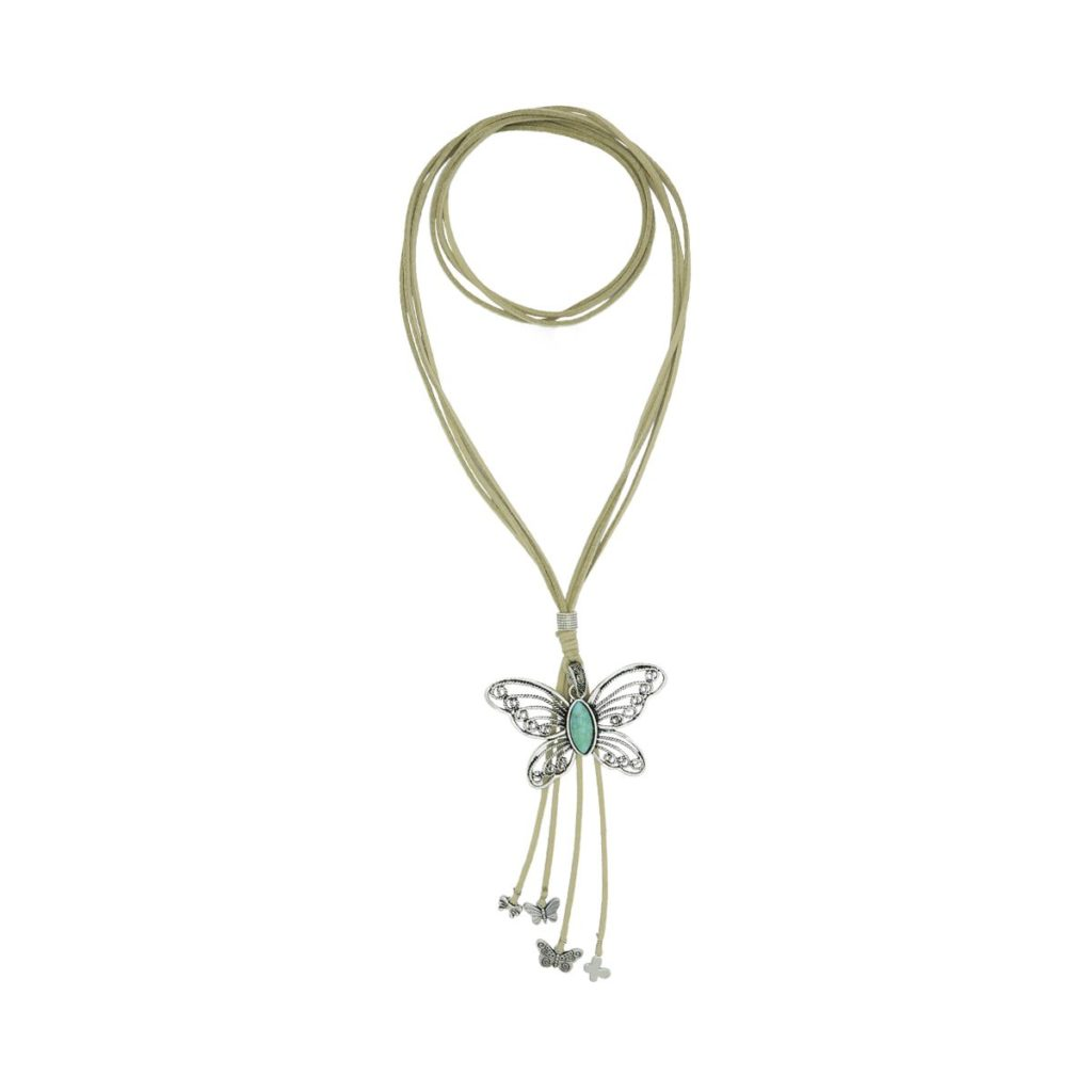 Náhrdelník motýl tyrkys