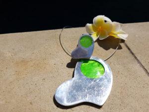Sada náhrdelníku a prstýnku zelená