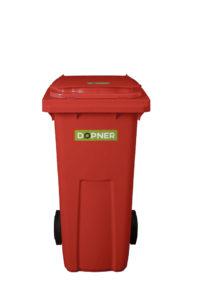 Plastová popelnice DOPNER 120 l – červená