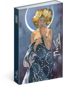 Notes Magnetický Alfons Mucha, linkovaný, 10,5 x 15,8 cm
