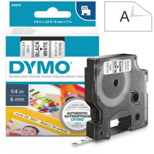 Páska Dymo D1, 6mm (43613) bílá, černý tisk, 7m