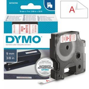 Páska Dymo D1, 9mm (40915) bílá, červený tisk, 7m