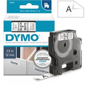 Páska Dymo D1, 12mm (45013) bílá, černý tisk, 7m
