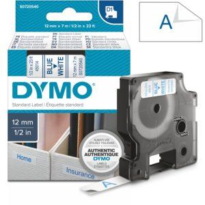 Páska Dymo D1, 12mm (45014) bílá, modrý tisk, 7m
