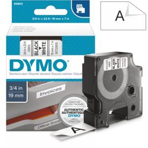 Páska Dymo D1, 19mm (45803) bílá, černý tisk, 7m