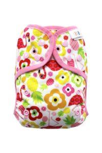 Svrchní kalhotky bez křidélek – Plameňák na prázdninách PAT, sv.růžové patentky + sv.růžová gumička
