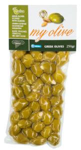 Zelené řecké olivy plněné mandlemi 250g MY OLIVE