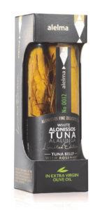 Maso z břišní části tuňáka bílého v olivovém oleji s rozmarýnem z ostrova Alonissos 156g ALELMA