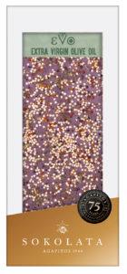 EVO 70% hořká čokoláda s infuzovaným olivovým olejem bazalkou s quinoou a mořskou solí s česnekem 100g SOKOLATA AGAPITOS