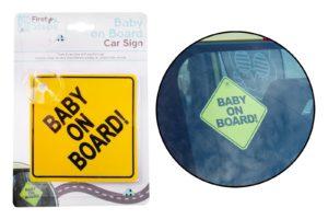 "First Steps klasická žlutá cedulka ""Baby on Board"""
