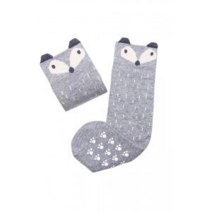 Mama's Feet Dětské podkolenky s liškou Crazy Animals Sneaky Fox šedé