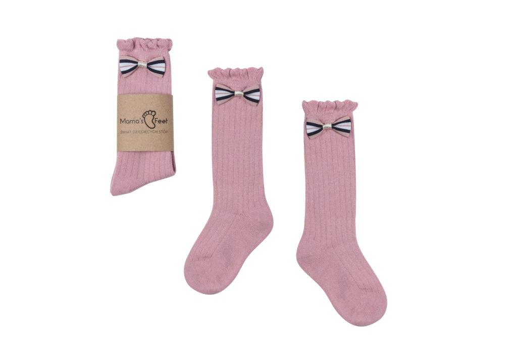 Mama's Feet Dětské podkolenky s mašlí Little pink Princess růžové
