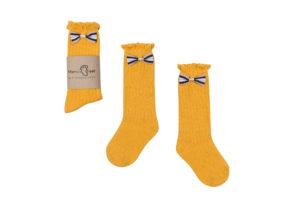 Mama's Feet Dětské podkolenky s mašlí Little Yellow Princess žluté