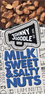 Johnny Doodle – mléčná čokoláda, pražené ořechy, med a sůl, 150 gramů