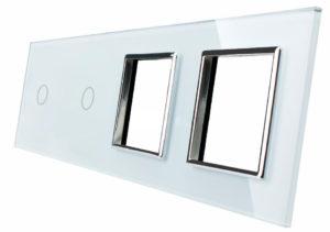 LIVOLO 1C-1C-SR-SR-11 sklenený 4-rámik biely