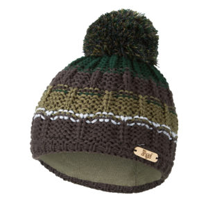Čepice pletená duha s bambulí Outlast ® – šedozelená