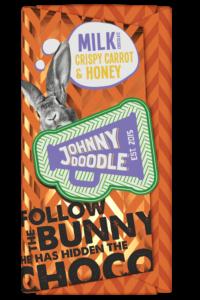 Johnny Doodle – mléčná čokoláda, křupavá mrkev a med, 180 gramů