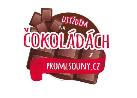 """Samolepka """"Ujíždím na čokoládách z promlsouny.cz"""""""