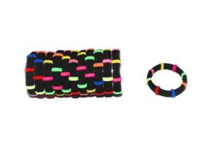 Černé gumičky s barevnými proužky, 12 ks