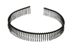 Černá kovová čelenka s bočním hřebínkem