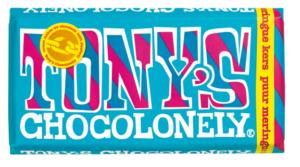 Tony's Chocolonely – hořká čokoláda, sněhové pusinky a třešně, 180 gramů